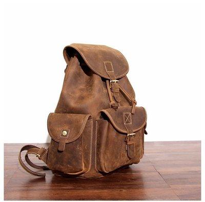 『老兵牛仔』MS8891新款復古做舊風格瘋馬皮雙肩背包/瘋馬皮/男包/復古/彈力/耐拉/個性