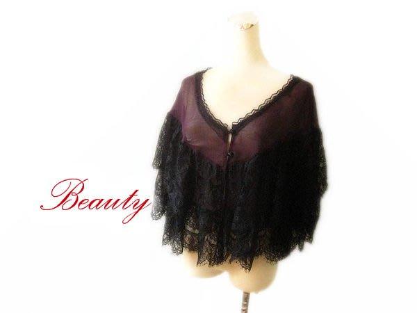 *Beauty*Red Label BIGI企業 紫色黑蕾絲披肩上衣 原價2780元GR