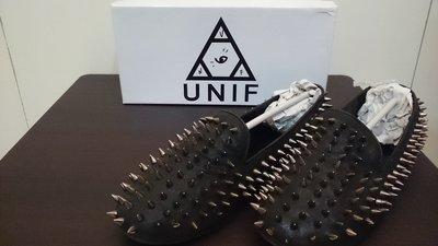 二手  UNIF Hellraiser Flats 刺蝟鉚釘樂福平底鞋 黑色/銀铆釘 US9(還有白色款)