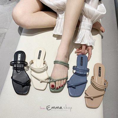 EmmaShop艾購物-韓國同步上新糖果色兩穿夾腳涼鞋/拖鞋/平底