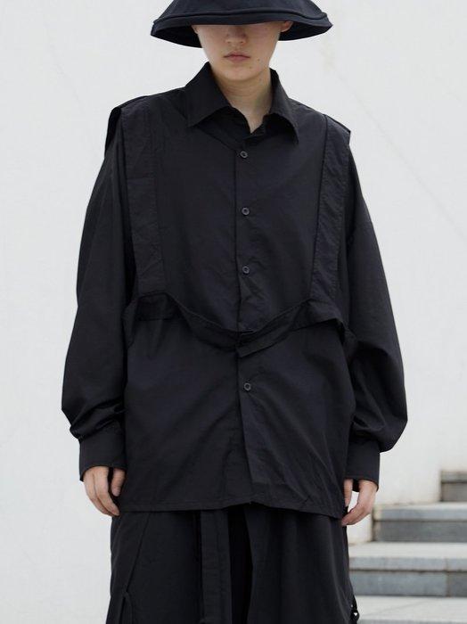 【鈷藍家】山本風SU秋小眾Yohji暗黑工裝風帶子黑色上衣日系背帶裝飾襯衫