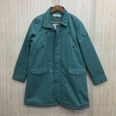 【愛莎&嵐】CUMAR 女 綠色刷毛長袖大衣外套