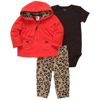 【安琪拉 美國童裝/生活小舖】Carter's 橘色豹紋刷毛連帽套裝-連帽外套+包屁衣+內搭長褲