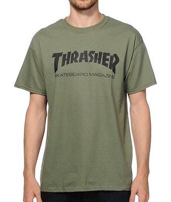 【Admonish】THRASHER Skate Mag Tee 軍綠 大地色 基本款 短T 街頭 滑板 經典火焰TEE