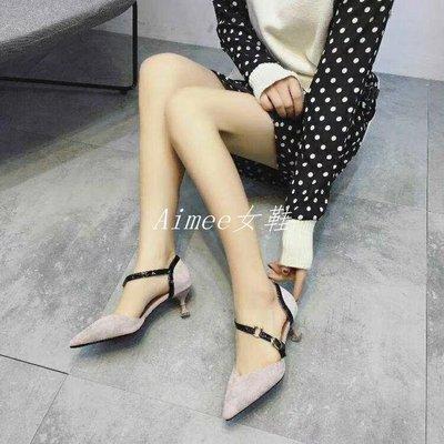 Empress丶淺口中空個性職業氣質簡約中跟細跟淺口尖頭春夏女單鞋潮