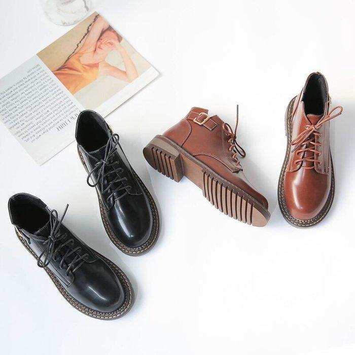 999短靴 靴子 馬丁靴 牛津靴  原宿馬丁靴女復古百搭低跟粗跟及踝靴女秋新款英倫圓頭系帶短靴女