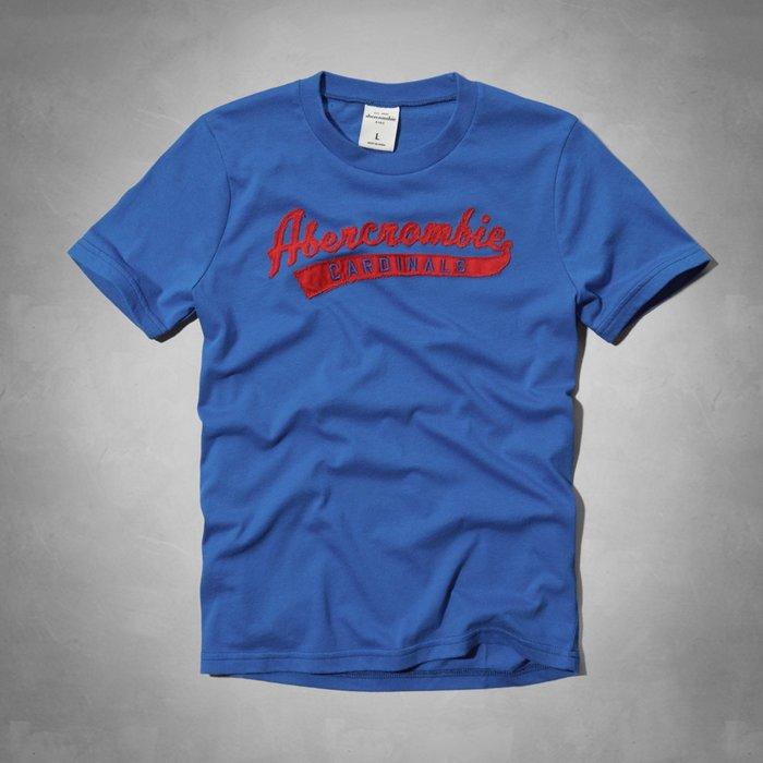 【abercrombie kids】【a&f】【零碼L】af男童短袖T恤紅色草寫字寶藍 F06140922-26