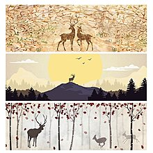 北歐小清新麋鹿動物裝飾畫客廳餐廳辦公室背景壁畫