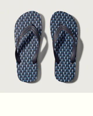 【天普小棧】A&F Abercrombie Seahorse Print Flip Flops麋鹿海灘夾腳人字拖鞋M號
