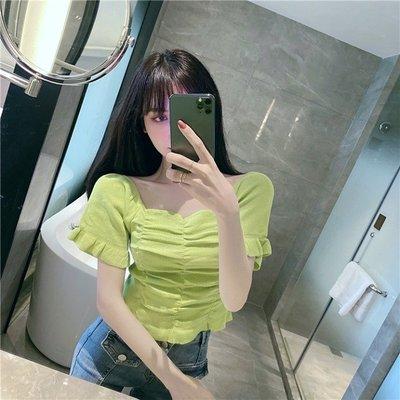 短袖針織衫 冰絲 韓版港風復古女裝時尚方領短袖收腰顯瘦短款針織上衣