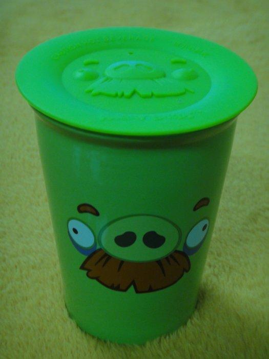 7-11_Angry Birds 憤怒鳥雙層陶瓷杯- 綠色 鬍子豬 (附立體造型杯蓋)