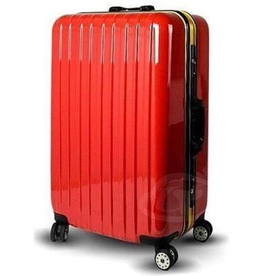 【葳爾登】LEADMING硬殼24吋旅行箱360度金屬鋁框行李箱鏡面防水登機箱玩味皇潮24吋306紅色