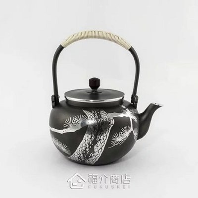 日本錫器【大阪浪華】錫壺 松 湯沸0....