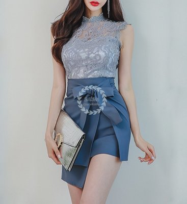 【2A Two】浪漫蕾絲🍒雅致感⌒無袖蕾絲上衣+不規則包臀短裙 兩件式『BA0512』