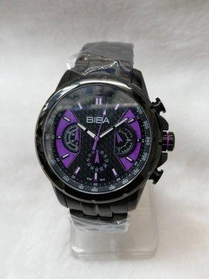 【 幸福媽咪 】網路購物、門市服務 BIBA 碧寶錶 三眼計時碼錶 男錶 黑紫 44mm_B76BS016V