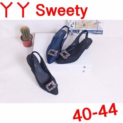 ☆(( 丫 丫 Sweety )) ☆。大尺碼女鞋。尖頭方鑽涼拖鞋40-44(D535)下標時以即時庫存為主