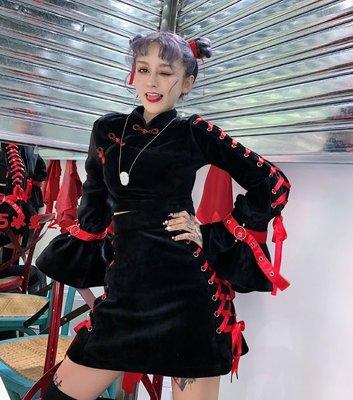 【黑店】原創設計 訂製款紅黑配色絲絨旗袍套裝 喇叭袖旗袍領兩件式套裝 暗黑龐克少女甜美個性絲絨套裝 OT119