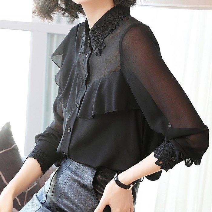 《巴黎拜金女》真絲襯衫荷葉邊黑色上衣翻領桑蠶絲刺繡襯衣
