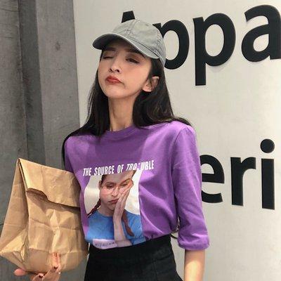 夏季韓系短袖T恤 減齡百搭字母人像印花學生上衣女 四色可選