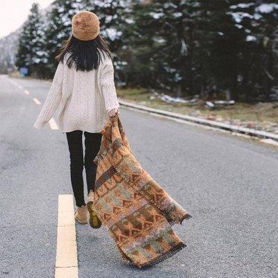 [可開發票]復古文藝森系大披肩旅游拍照民族風保暖閨蜜圍巾秋冬季女 【格調】