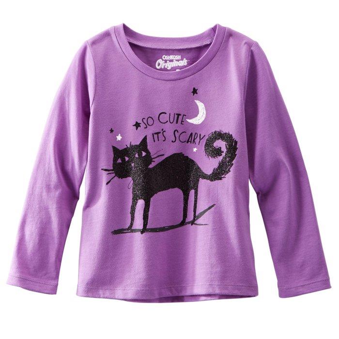 【Nichole's歐美進口優質童裝】OshKosh 女童 紫色貓咪棉質長袖上衣*另有Carter's/Old Navy