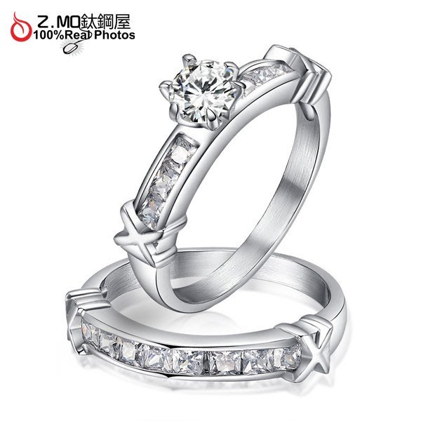 情侶對戒指 Z.MO鈦鋼屋 情侶戒指 鑲鑽戒指 白鋼戒指 鑲鑽對戒 滿鑽戒指 優雅氣質款 刻字【BGY044】單個價
