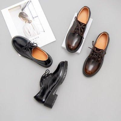 娃娃鞋牛津鞋休閒鞋 伯爵貓真皮小皮鞋女日系學院風制服鞋中跟學生圓頭單鞋馬丁鞋8085