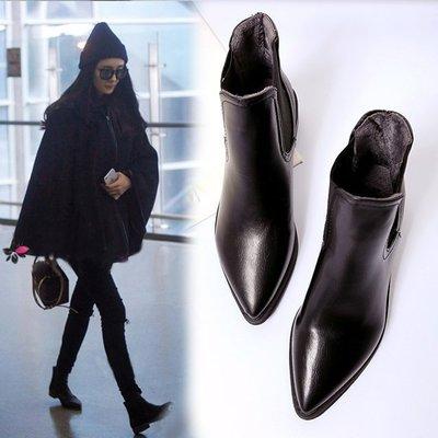 GOGO SHOP☆╭♥GT0031♥超值新品 韓版真皮短靴女平底中粗跟尖頭馬丁靴英倫女靴子單靴雪靴converse
