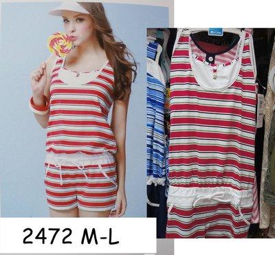 KINI- 名人泳裝2472 台灣製 - 連身四角二件式泳衣- 潮流紅條紋 [M-L] 特價1280元