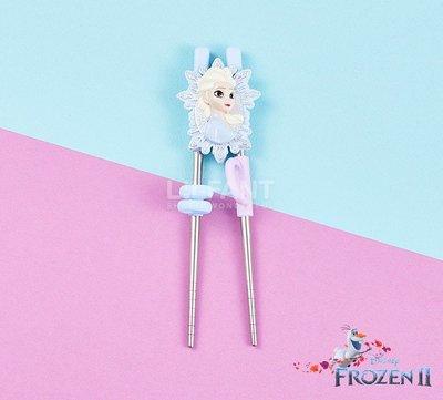 ♀高麗妹♀韓國 Disney FROZEN II 冰雪奇緣2 立體艾莎304不鏽鋼第2階段練習筷.學習筷(預購)