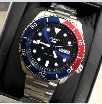 SEIKO腕錶精工5 SPORTS系列次世代話題(SRPD53K1)紅藍色可樂錶圈 鋼錶帶 水鬼 男生 防水 自動機械手錶43mm