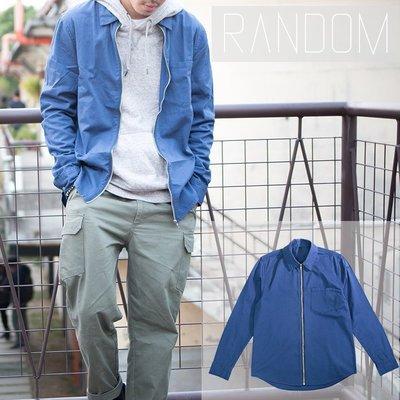 【Random】 【拉鍊式工作襯衫】 素面襯衫 工作襯衫 長袖 藍  騎士風  dickies可參考 S~3XL 現貨