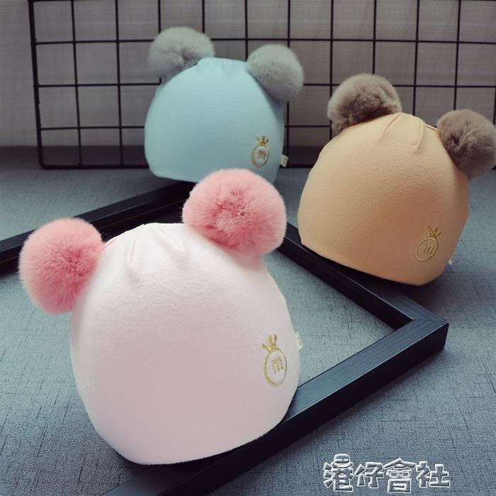 秋冬新生兒帽子1男童胎帽毛球女童嬰兒帽2寶寶純棉帽0-3個月