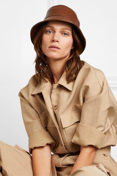 【代購】 新品 Burberry 皮革 漁夫帽