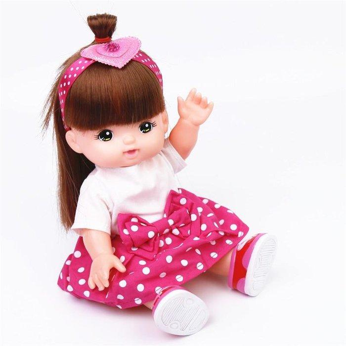 【小黑妞】小美樂.巧虎.小花.等30cm以下玩偶可穿衣服-玫紅色圓點佯裝+髮帶2件套(不含娃娃)【現貨】