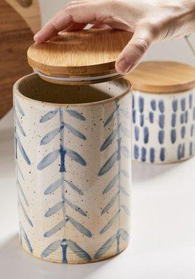 [SECOND LOOK]美國雜貨 藍色水草 筆觸感 雜物罐 茶包罐