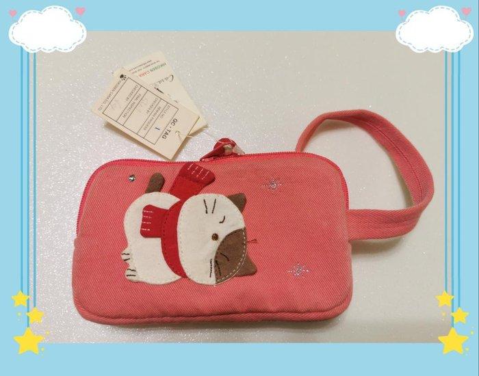 🏆 【日本CARA卡拉貓】🏆卡拉貓雙層小錢包純棉材質寬14*高8*2.5cm