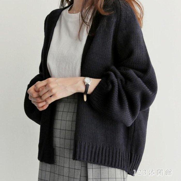 中大尺碼毛衣外套 秋冬新款韓版寬鬆純色百搭短款女外搭毛衣外套慵懶風潮LB973