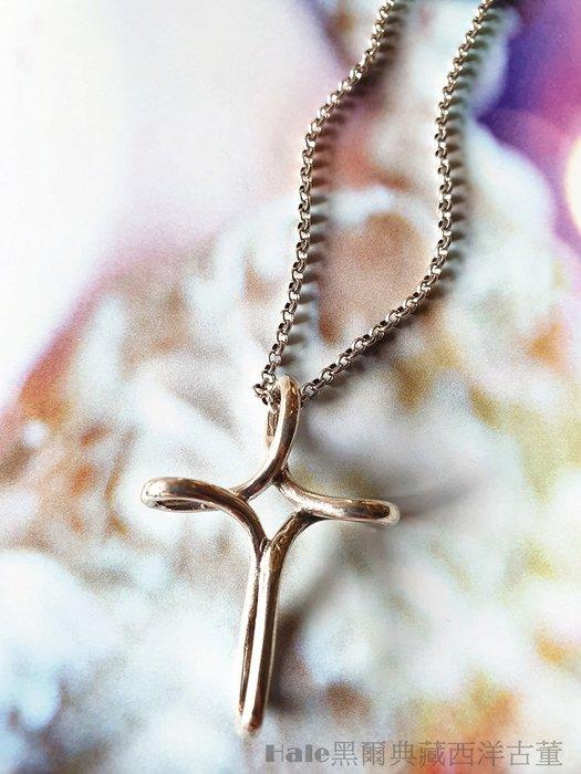 黑爾典藏西洋古董 ~ 純925銀 流線縷空一體成型十字墜子~古著日本復古蕾絲教堂彩繪玻璃