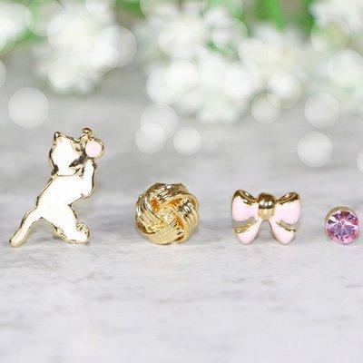 浪漫派飾品 G1357 寵我 貓咪+鈴鐺+蝴蝶結+單鑽 一組4入 夾式耳環 矽膠耳環 無耳洞專用
