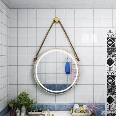 居家家 北歐led化妝鏡帶燈補光鏡浴室鏡aoh梳妝臺鏡子宿舍掛式鏡網紅圓鏡