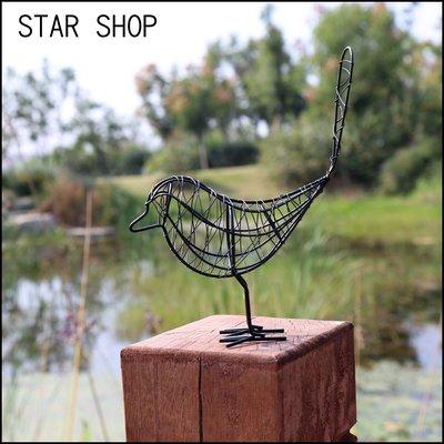 星雜貨 北歐復古鄉村風質感創意黑白色鐵線可愛小鳥造形飾品 田園風仿舊藍色鐵藝編織飛鳥擺飾 咖啡餐酒館裝飾園藝佈置