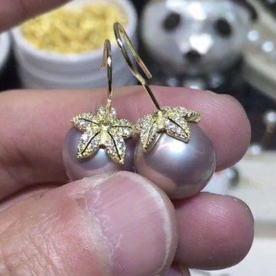 天然紫色珍珠耳環