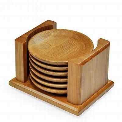 【竹制杯托組-六杯托-直徑7.8cm-1套/組】茶道茶具配件功夫茶墊杯墊(收容架*1+杯托*6)-7501015