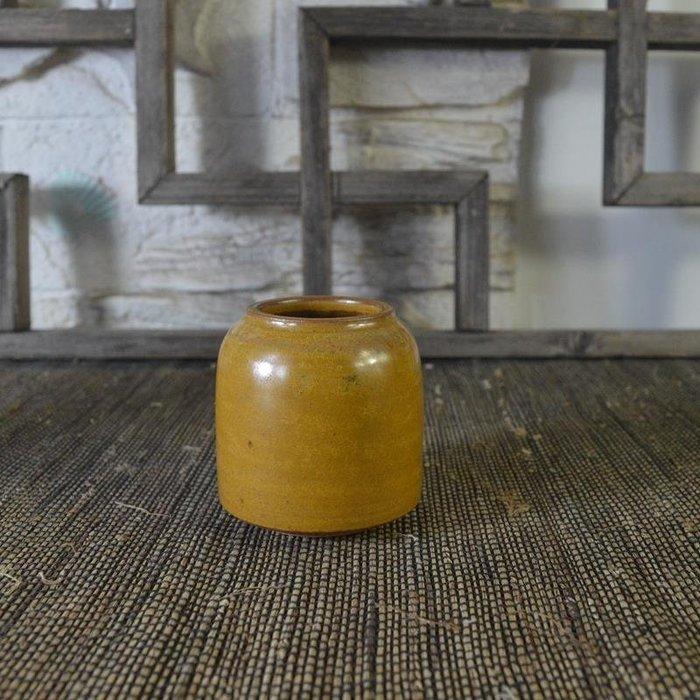 百寶軒 仿古瓷器復古全新民國風格黃釉水盂筆洗文房用品古董古玩 ZK1126