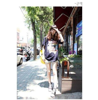 =EF依芙=早班車5503 韓國 首爾時尚精品 東大門同步上新大碼女式纯棉寬鬆短袖圓領T恤