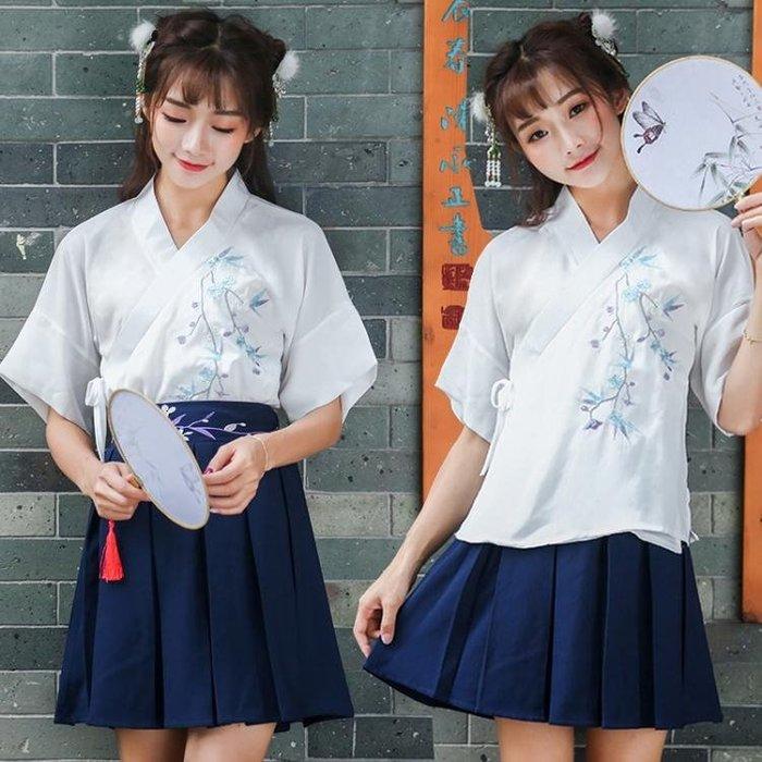 日常改良漢服女2018夏新款中國風交叉領系帶上衣 LQ4828