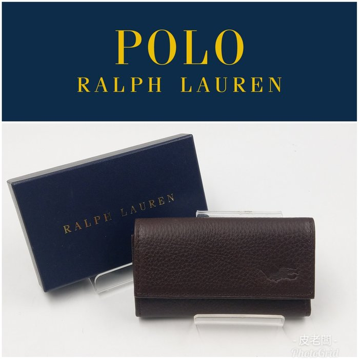 【皮老闆二店】二手真品 Ralph Lauren 錢包 皮夾 鑰匙包 藍511