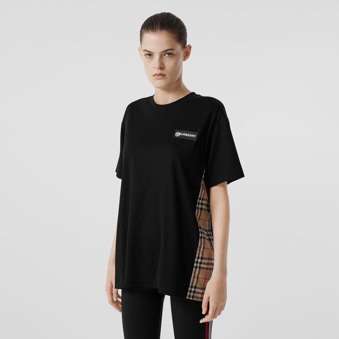 (實拍現貨)Burberry Vintage 寬版棉質 T 恤 格紋裁片棉質寬版 T 恤 商品 80245451 LO2