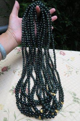 518中國結綁繩.扣頭專賣--油青色圓珠翡翠A貨項鏈 108粒(8mm)--S22  尾端加一截線繩可作玉墜掛件綁繩